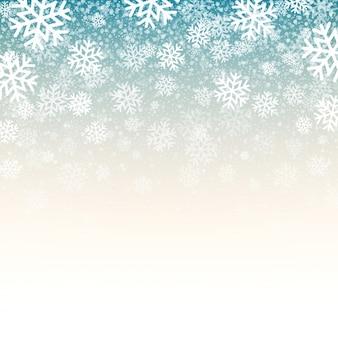 Blauer hintergrund mit schneeflocken
