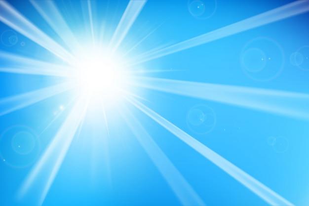 Blauer hintergrund mit sonnenlicht