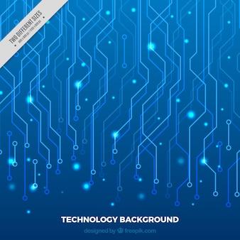 Blauer hintergrund mit technologischen verbindungen und glänzende punkte Kostenlosen Vektoren