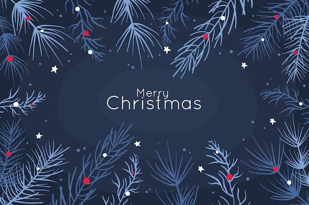 Blauer hintergrund mit weihnachtsmotiv