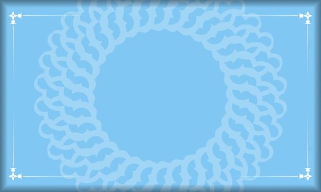 Blauer hintergrund mit weißen vintage-ornamenten und platz für logo oder text