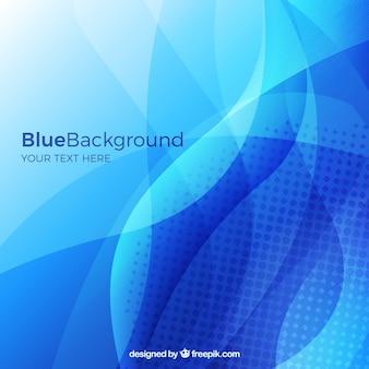 Blauer hintergrund mit wellenförmigen formen