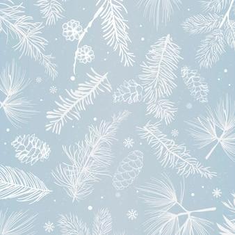 Blauer hintergrund mit winterdekorationsvektor