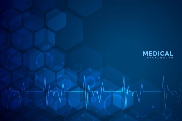 Blauer hintergrundentwurf der medizin und des gesundheitswesens