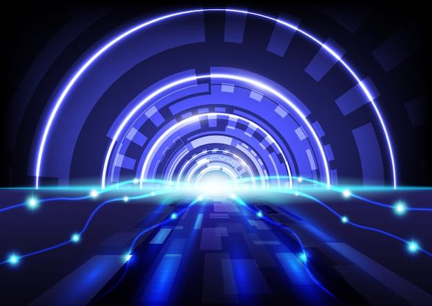 Blauer hintergrundvektor der abstrakten hightech-digitaltechnik