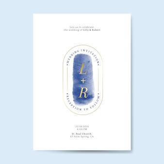 Blauer hochzeitseinladungskartenvektor