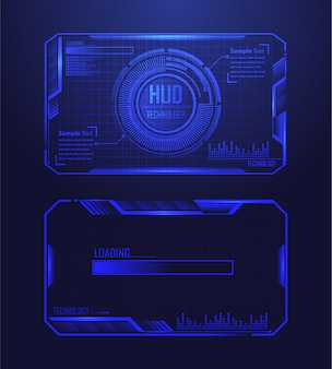 Blauer hud-cyberstromkreis-zukünftiger technologiekonzepthintergrund