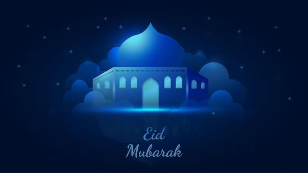 Blauer islamischer eid mubarak-vektorfestivalillustrationsfahnenhintergrund mit moschee