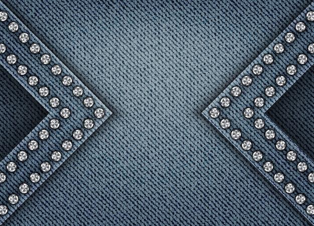 Blauer jeanshintergrund mit bögen und paillettenrändern