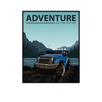 Blauer jeep und der fluss
