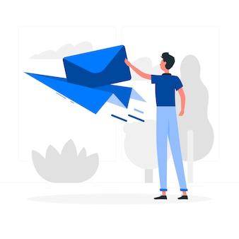 Blauer junge mit flacher art des papierflugzeuges