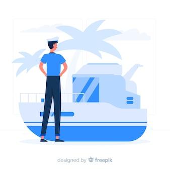 Blauer junge mit flacher art des schiffs