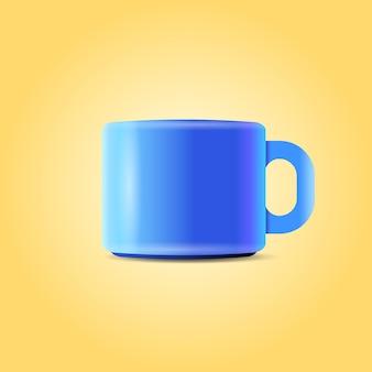 Blauer kaffee oder teetasse isoliert