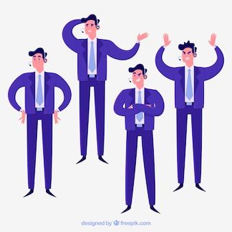 Blauer karikaturverkäufer in der unterschiedlichen position