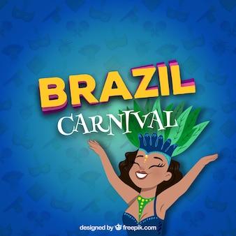 Blauer karnevalshintergrund mit glücklicher frau