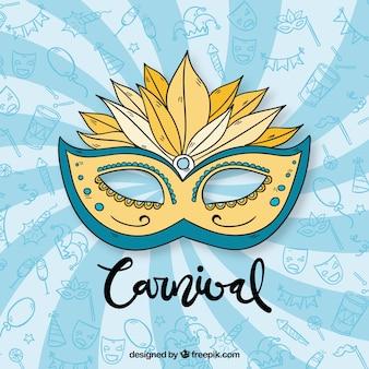 Blauer karnevalshintergrund mit maske