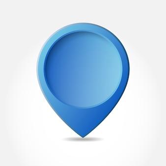Blauer kartenzeiger lokalisiert auf weiß