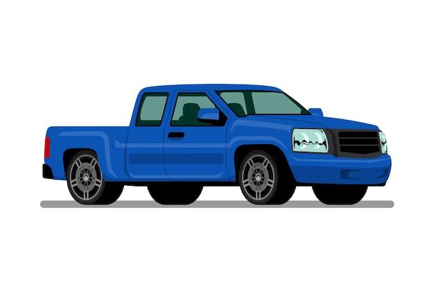 Blauer kleintransporter.