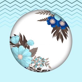 Blauer kreisrahmen der runden zeichnung der blume mit blumen