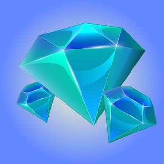 Blauer kristall der karikatur für spiel