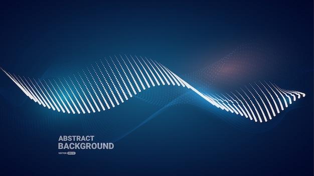 Blauer kurvenpartikelhintergrund.