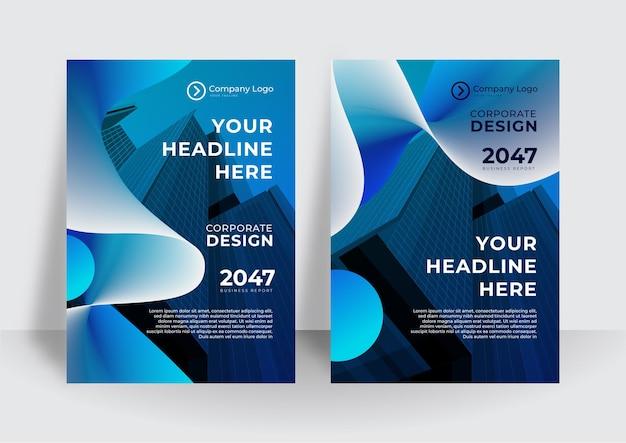 Blauer kurvenvektor-geschäftsvorschlag, broschüre, broschüre, flyer-vorlagen-design, buchcover-layout-design, abstrakte business-präsentationsvorlage, design im a4-format