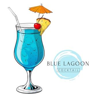 Blauer lagunencocktail handgezeichnetes alkoholgetränk mit ananasscheibenkirsche und regenschirm