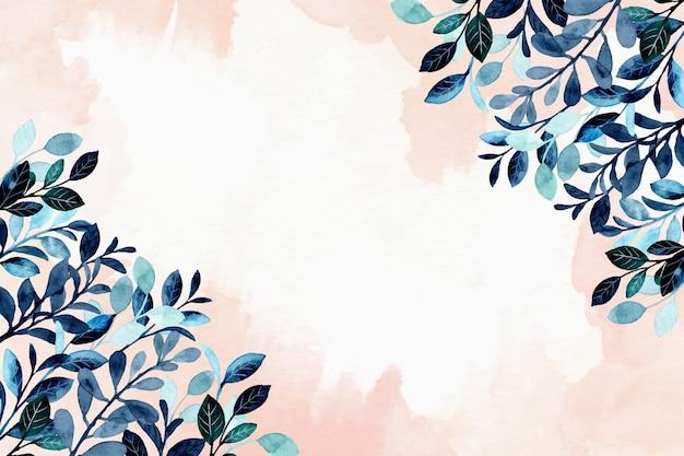 Blauer laubhintergrund mit aquarell