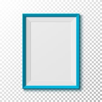 Blauer, leerer bilderrahmen auf transparentem hintergrund. illustration.