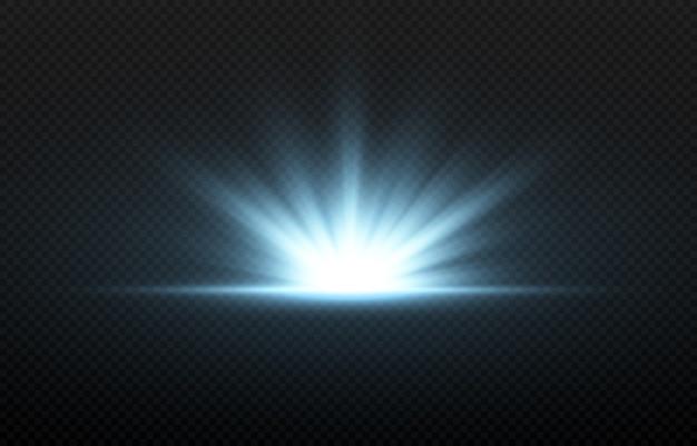 Blauer lichtblitz. blaues licht, strahlen. licht