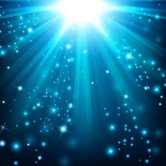 Blauer lichteffekt, der mit scheinen beleuchtet wird
