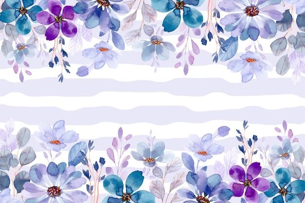 Blauer lila blumengartenhintergrund mit aquarell