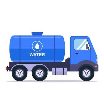 Blauer lkw mit einem tank zum transportieren von wasser