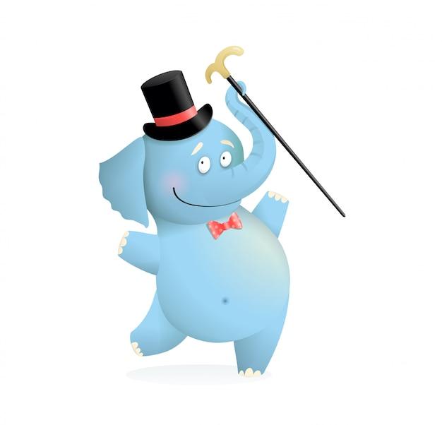 Blauer lustiger elefant, der hut mit stockkarikatur trägt