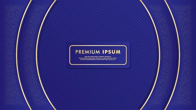 Blauer luxushintergrund mit golddetailis