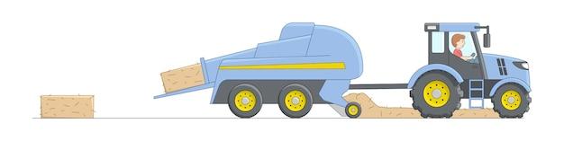 Blauer mähdrescher, der weizen mäht. heu entfernen maschinen traktor mit fahrer. lineare cartoon-zusammensetzung. landwirtschaftliche konzeptkarikaturobjekte mit umriss.