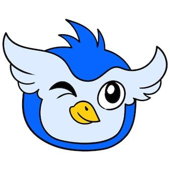 Blauer männlicher eulenkopf zwinkert kokett verführerisch, vektorillustrationskarton-emoticon. gekritzelsymbol-zeichnung