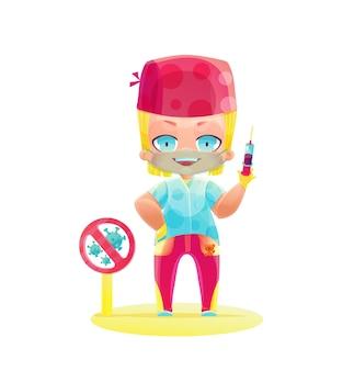 Blauer magentafarbener einheitlicher männlicher arzt mit einer spritze mit einem impfstoff und einem spielzeugbären. zeichnen im stil von cartoon-manga und anime. süßer charakter in leuchtenden farben