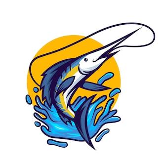 Blauer marlin-fisch, der aus der wasserillustration springt