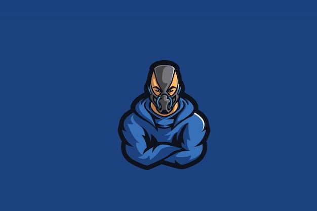 Blauer maskierter sport des mann-e