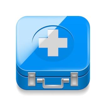 Blauer medizinaktenkoffer auf weiß