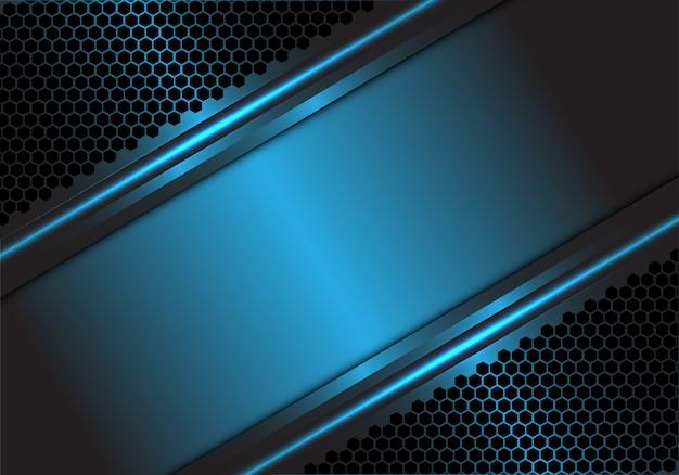 Blauer metallischer leerer spacehexagon-maschenhintergrund.