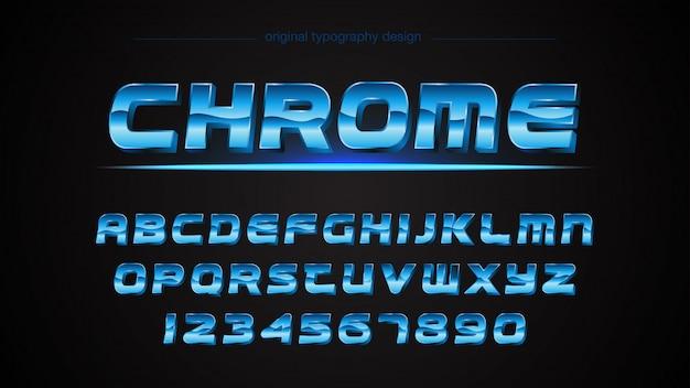 Blauer metallischer typografie-entwurf