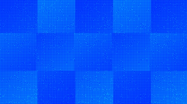 Blauer mikrochip auf technologischem hintergrund, high-tech-digital- und sicherheitskonzeptdesign