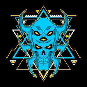 Blauer monsterkopf mit heiliger geometrie für den kommerziellen gebrauch