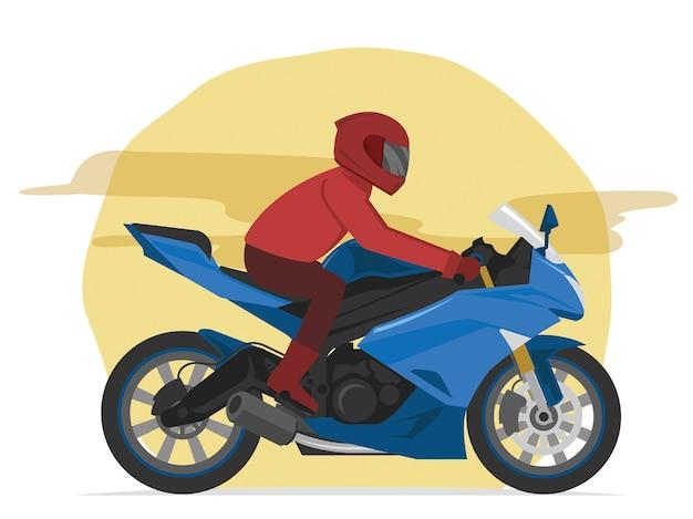 Blauer motorradfahrer des sports, der auf der straße beschleunigt