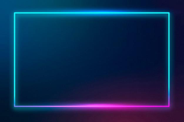 Blauer neonrahmen auf dunklem hintergrund