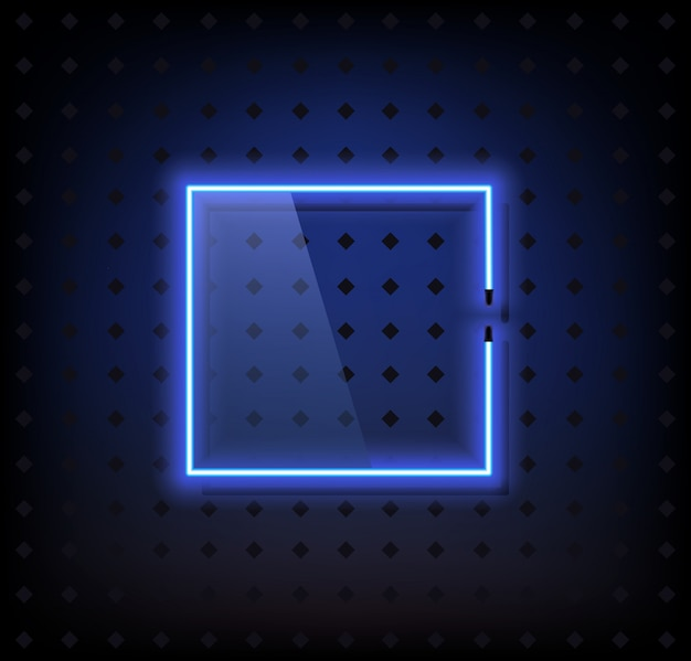 Blauer neonrahmenlampenvektor mit glas
