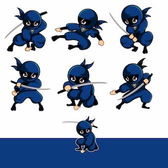 Blauer ninja mit sieben verschiedenen schriftarten
