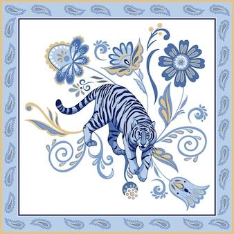 Blauer nordischer tiger im zierrahmen mit abstrakten asiatischen blumenelementen abstraktes orientalisches paisley
